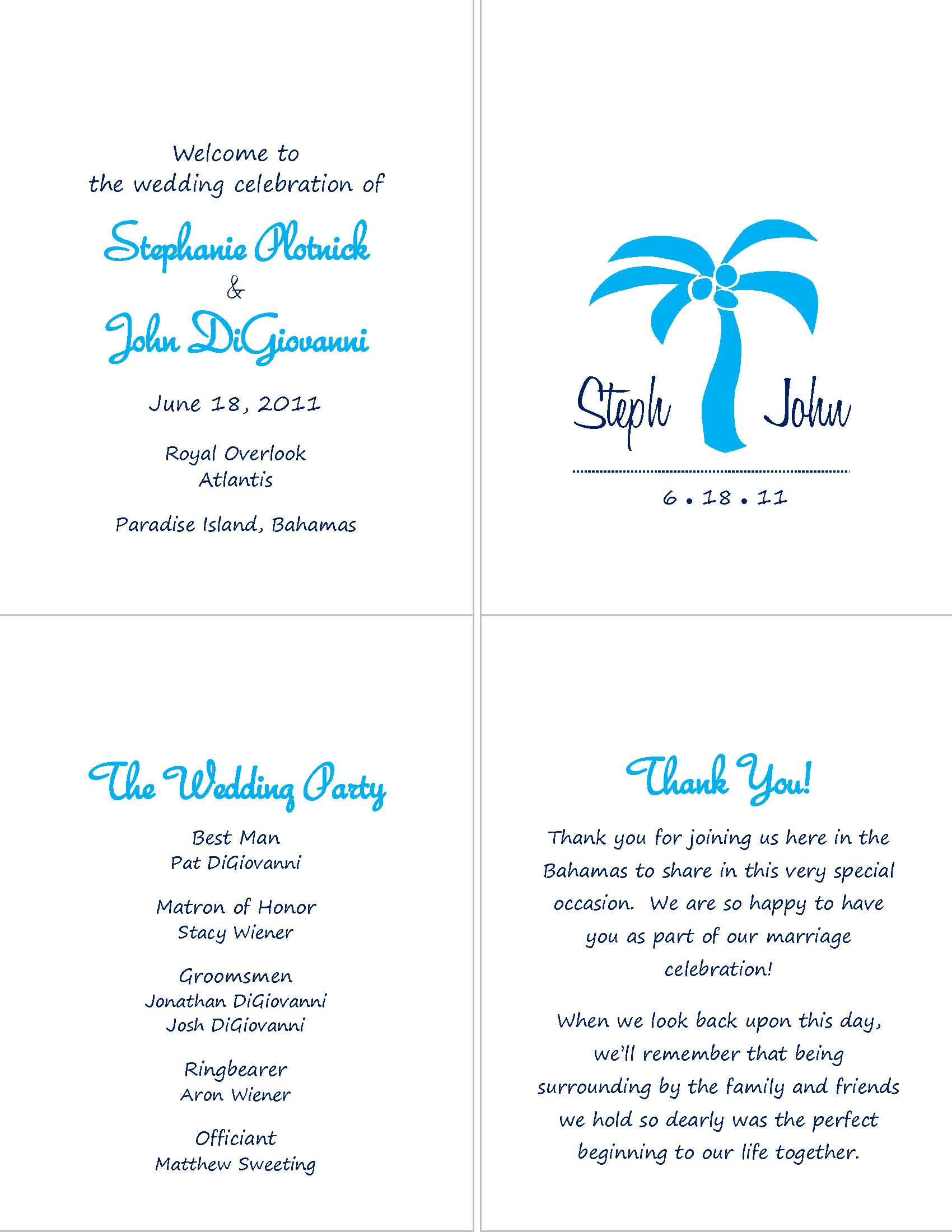 Simple Wedding Program Wording Samples