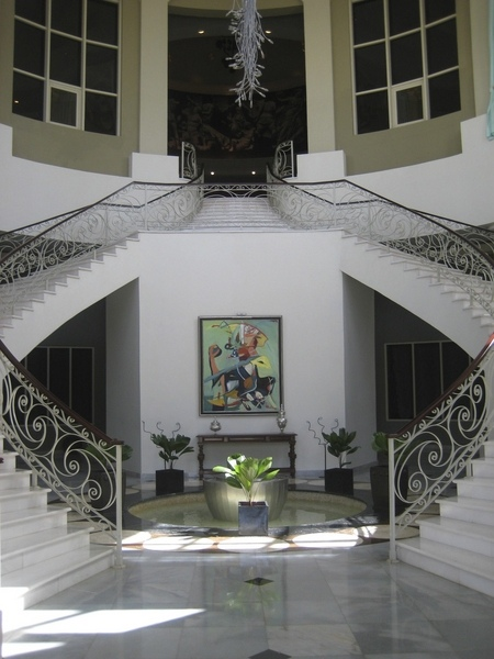 Wedding resort entryway and interior staircases
