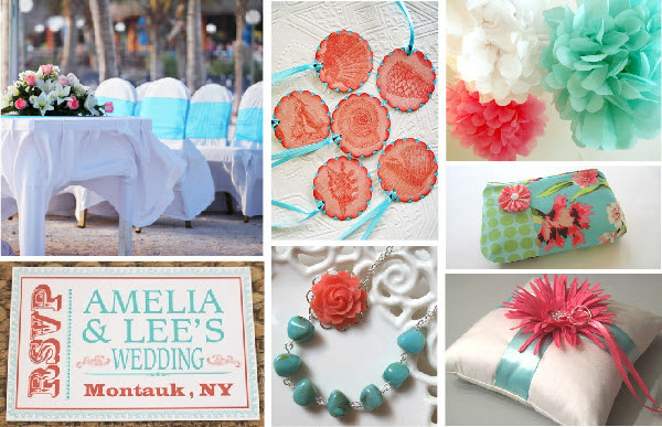 "Coral And Turquoise Wedding: Theme Mexico & Theme ""Grey, Black, White & A Little Red"""