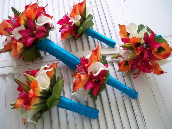 Here are my real touch flowers in the orange fuschia turquoise scheme