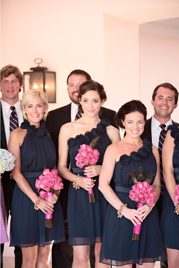 The gallery for navy blue bridesmaid dresses pink flowers for Navy blue and pink wedding