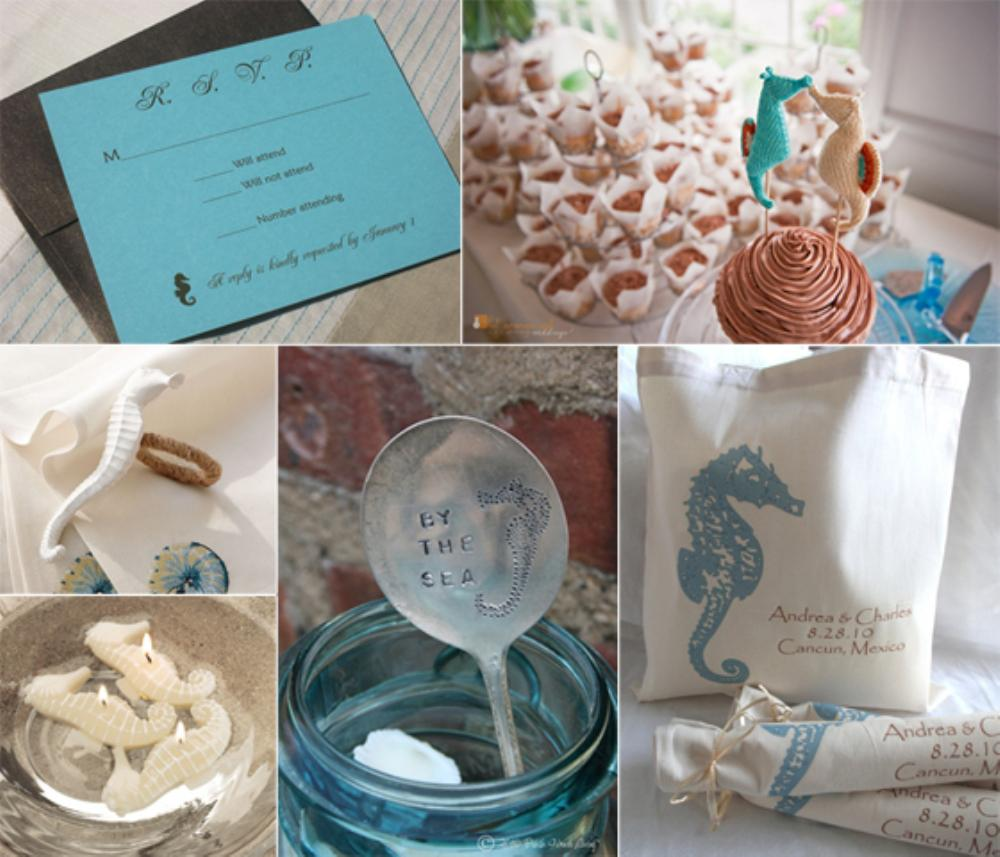 beach wedding ideas sand dollar and seahorse